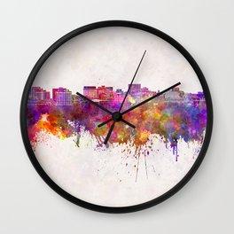 Hobart skyline in watercolor background Wall Clock