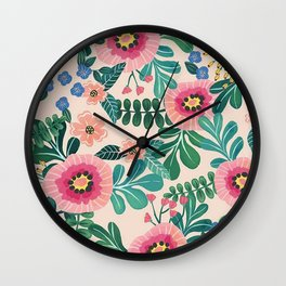 Colorful Tropical Vintage Flowers Abstract Wall Clock