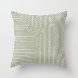 Lines (Linen Sage) Throw Pillow