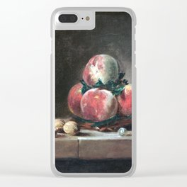 Jean-Siméon Chardin Still Life with Peaches, a Silver Goblet, Grapes, and Walnuts Clear iPhone Case
