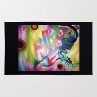kandinsky Area & Throw Rugs featuring KANDINSKY - oil painting by Heaven7