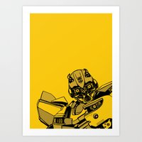 transformers Art Prints featuring Transformers: Bumblebee by Skullmuffins