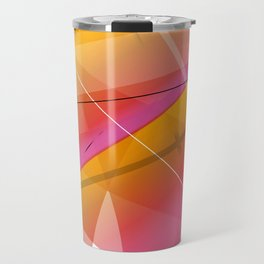 Cranberry Orange Geometric Abstract Art Travel Mug