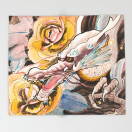 Water Color Dragon and Peonies Throw Blanket
