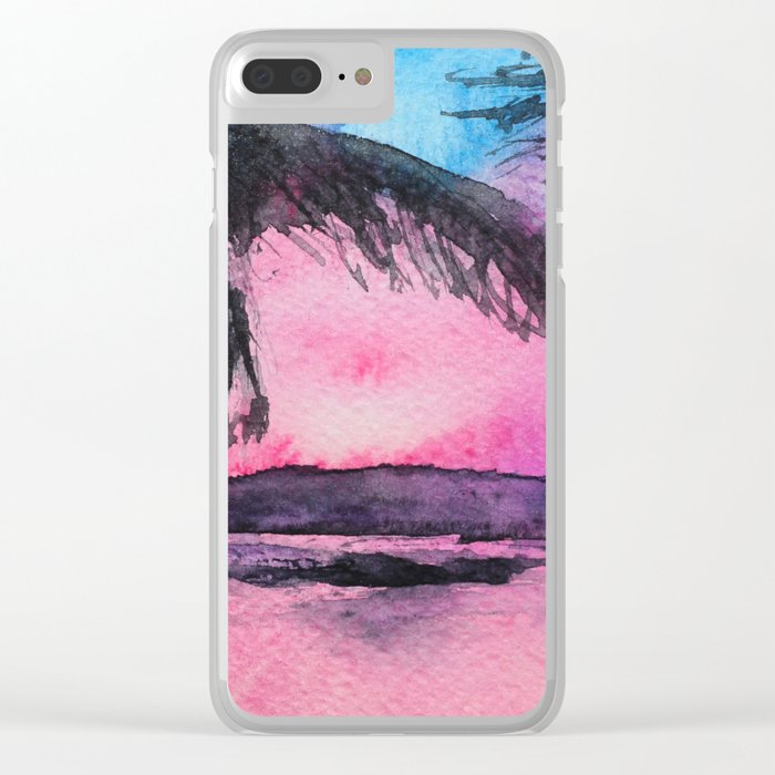 Tropical sunset || watercolor Clear iPhone Case
