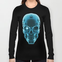 Gamer Skull BLUE TECH / 3D render of cyborg head Long Sleeve T-shirt