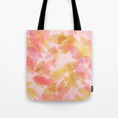 Autumn-world- gold leaves on pink Tote Bag