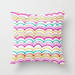 Neon Scallops Throw Pillow