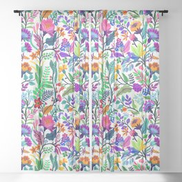 floral pattern with bright colorful flowers and tropic leaves on a white background. Modern floral background. Trendy Folk style. Sheer Curtain