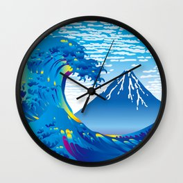 Hokusai Great Wave & Mt. Fuji under the Clear Sky Wall Clock