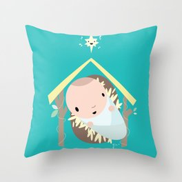 Baby Cartoon Jesus wishes you a Merry Christmas Throw Pillow