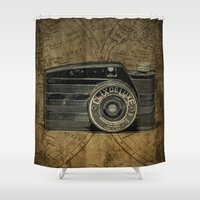 vintage camera Shower Curtains featuring Vintage Camera by dawne photography
