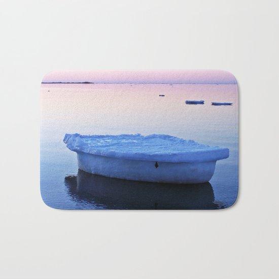 Ice Raft at Dusk on Calm Seas Bath Mat