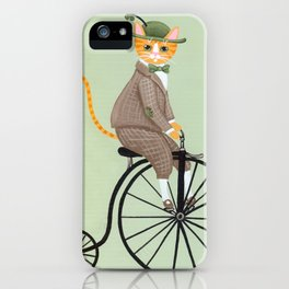Dandy Cat on a Penny Farthing Bicycle iPhone Case