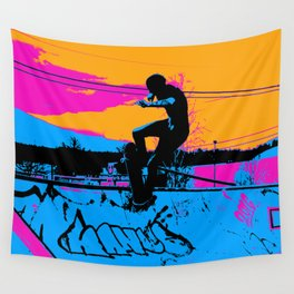 On Edge - Skateboarder Wall Tapestry