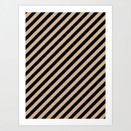 Tan Brown and Black Diagonal RTL Stripes Art Print