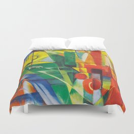 """Franz Marc """"Landscape with House and Two Cows (also known as Landscape with House, Dog and Cattle)"""" Duvet Cover"""