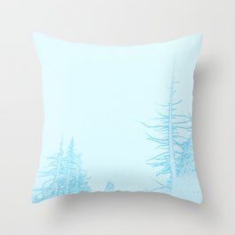 Icy forest in ice blue Throw Pillow