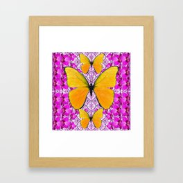 FUCHSIA COLORED  ORCHIDS &  YELLOW  BUTTERFLY FLORAL Framed Art Print