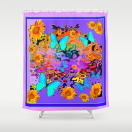 Lavender Art Blue Butterflies Floral Shower Curtain