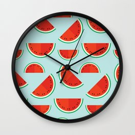 Watermelons on blue Wall Clock