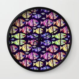 Colorful Fishes Pattern Design Wall Clock