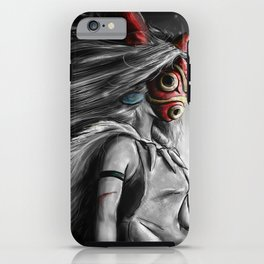 Miyazaki's Mononoke Hime Digital Painting the Wolf Princess Warrior Color Variation iPhone Case