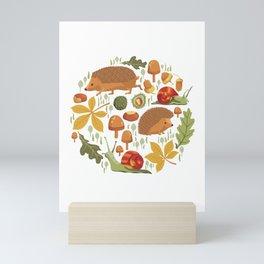 Woodland Autumn Hedgehogs Mini Art Print