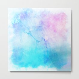 Turquoise Pink Watercolor Texture Metal Print