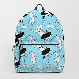 Girl with Cat and Dog Pattern Backpack
