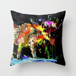 Moose Grunge Throw Pillow