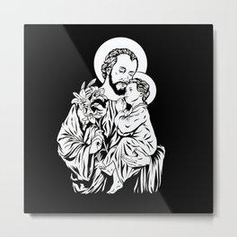 Saint Joseph holding jesus in his arm Metal Print
