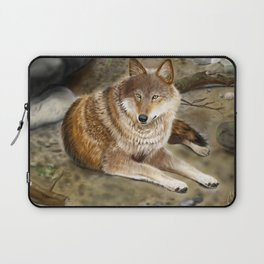 Wolf by the Riverbed Laptop Sleeve