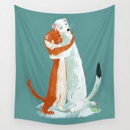 Weasel hugs Wall Tapestry