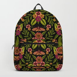 Dark Moths & Flowers - Moody Floral Pattern Backpack