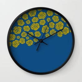 Yellow Cascading Roses on Classic Blue Wall Clock