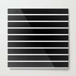 Horizontal Lines (White & Black Pattern) Metal Print