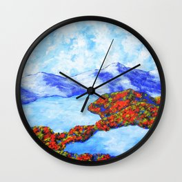 Whiteface Mountain by Mike Kraus - adirondack ny new york upstate autumn woods lake placid nature Wall Clock