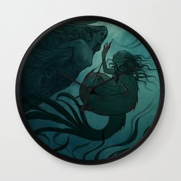 The day a mermaid found a shipwreck Wall Clock