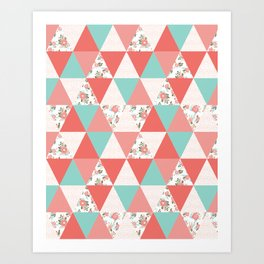 Triangle quilt pattern cute florals dots cheater quilt blanket quilter must have cute baby shower  Art Print