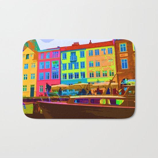Harbour side Denmark Nyhavn Dayglo Print Bath Mat