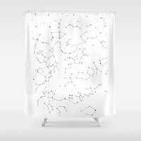 constellations Shower Curtains featuring Constellations by Rowan Weir