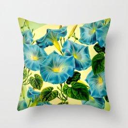 Blue Morning Glories Throw Pillow