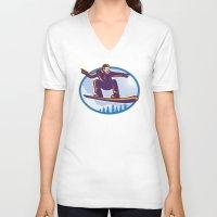 snowboard V-neck T-shirts featuring Snowboarder Holding Snowboard Retro by patrimonio