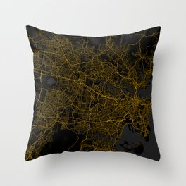 Sydney City Map of Australia - Gold Night Light Throw Pillow