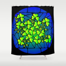 Stained Glass Shamrocks Shower Curtain