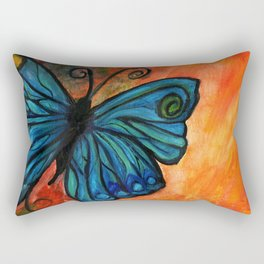 Stained Glass Butterfly Rectangular Pillow