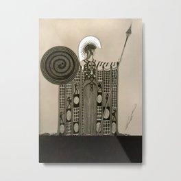 """Art Deco Sepia Illustration """"Athena"""" Metal Print"""