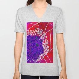 Purple Red floral line Unisex V-Neck