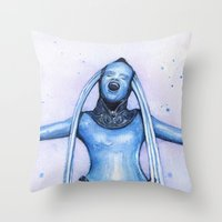 fifth element Throw Pillows featuring Diva Plavalaguna | Fifth Element Watercolor Art by Olechka